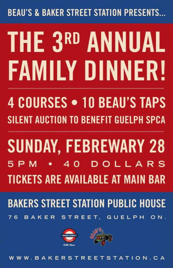 Baker Street Station Third Annual Beaus Family Dinner Guelph