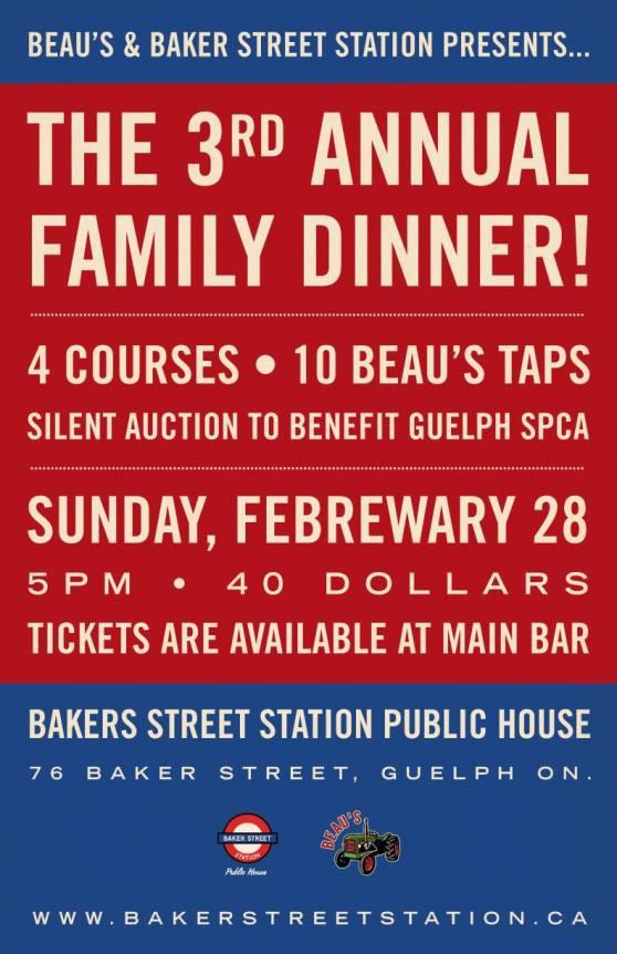 Baker Street Station Third Annual Beaus Family Dinner Guelph